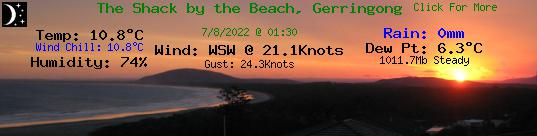 Seven Mile Beach Gerroa weather provided by The Shack by the Beach